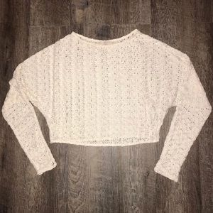 Zara Basic Lace Crop Sleeved Shirt